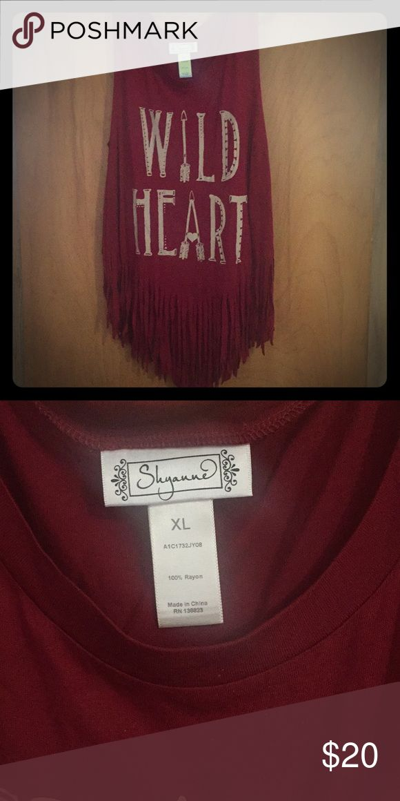 Red fringe tank top Worn and washed once!! Soft, stretchy and the perfect boho fringe tank shyanne Tops Tank Tops