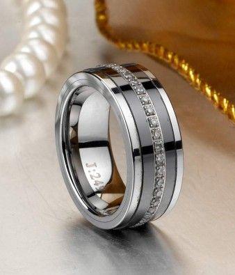Luxury Tungsten Carbide Wedding Band with Black Ceramic and CZ Inlay - Tungsten Republic