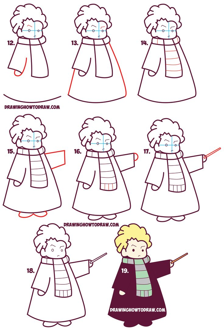 Learn How to Draw Cute Draco Malfoy from Harry Potter (Chibi / Kawaii) Simple Steps Drawing Lesson for Kids