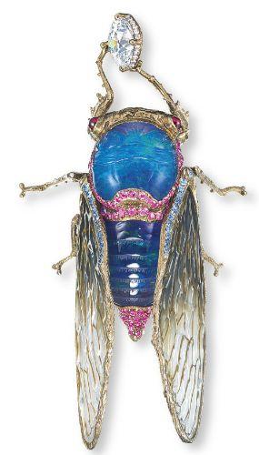 WALLACE CHAN Cicada Brooch of Lapis & Opal Gemstones