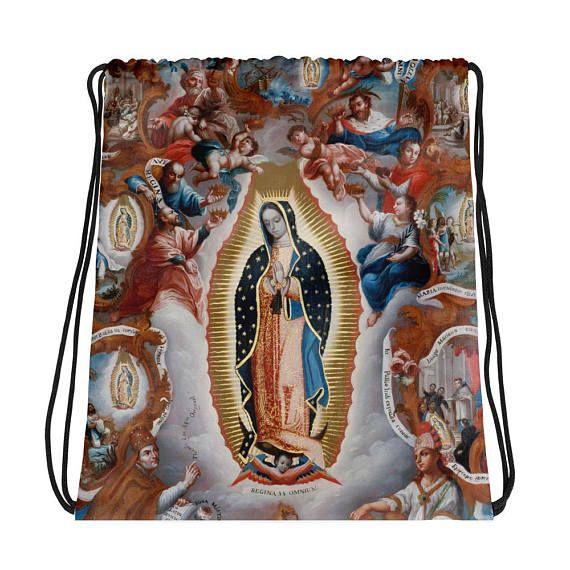Guarda questo articolo nel mio negozio Etsy https://www.etsy.com/it/listing/576512806/drawstring-bag-our-lady-of-guadalupe