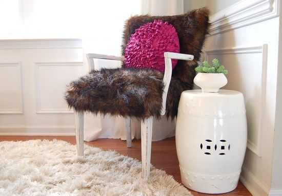 diy recover a chair with fur and a glue gun. awesome! from nesting place.