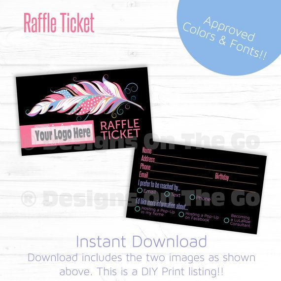 Black Feather Raffle Ticket - Instant Download - DIY Print - Lularoe - Approved Font and Color - Business Card Size