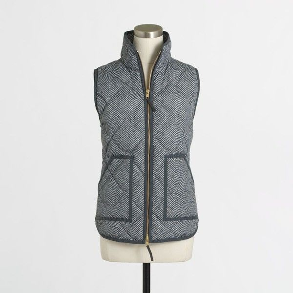 J Crew J.Crew Factory printed quilted puffer vest ($65) ❤ liked on Polyvore featuring outerwear, vests, puffy vest, zip vest, puffer vest, quilted puffer vest and puff vest