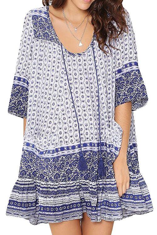 Blue Half Sleeve Tribal Print Dress