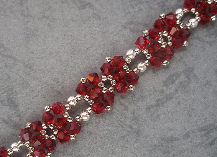 Red Metallic Ribbon Bracelet BB156 Beaded Bracelet Pattern