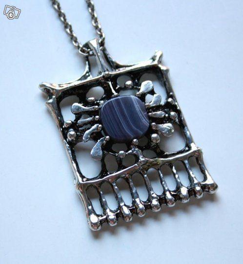Tapani Vanhatalo, vintage pendant, in tin with agate stone, late 1970's. | Tori.fi #Finland