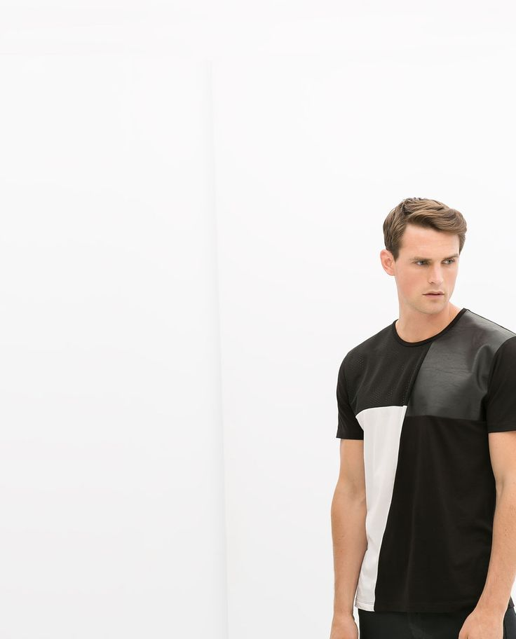 Image 1 of T-SHIRT WITH FAUX LEATHER DETAIL from Zara