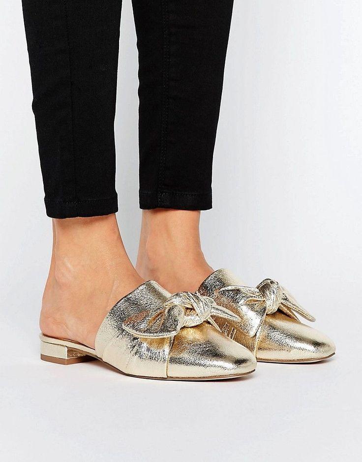 Gold Mule Ballet Flats
