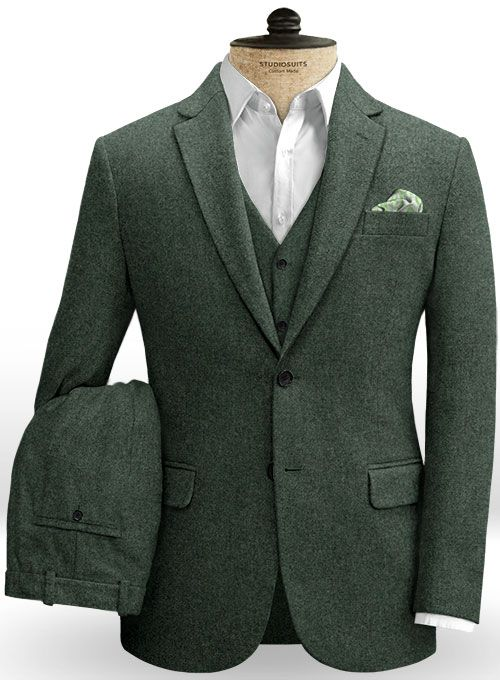 2eb939518106 Green Heavy Tweed Suit   StudioSuits  Made To Measure Custom Suits ...