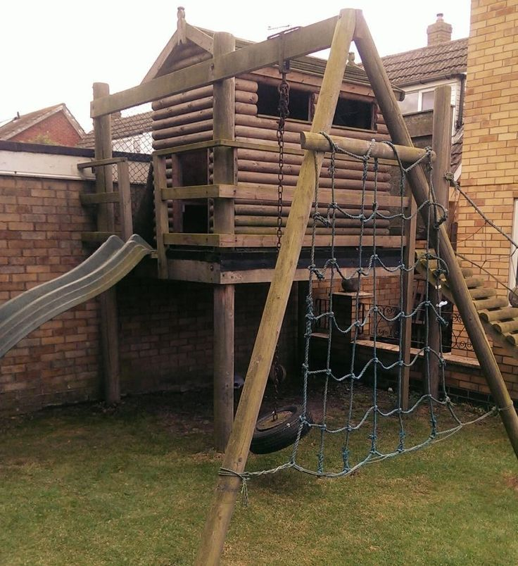 17 best ideas about wooden playhouse with slide on for Rope swing plans