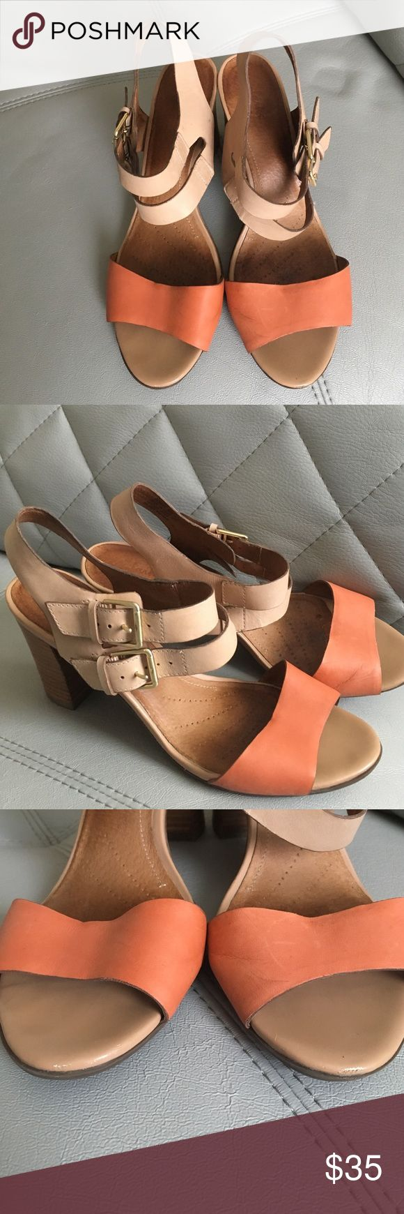 Clarks High Heel Open Toe  Sandals. Pre- owned. Good condition. Beige/ Salmon color. Clarks Shoes Sandals