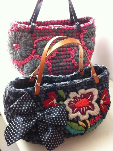 crochet bag with embroidery