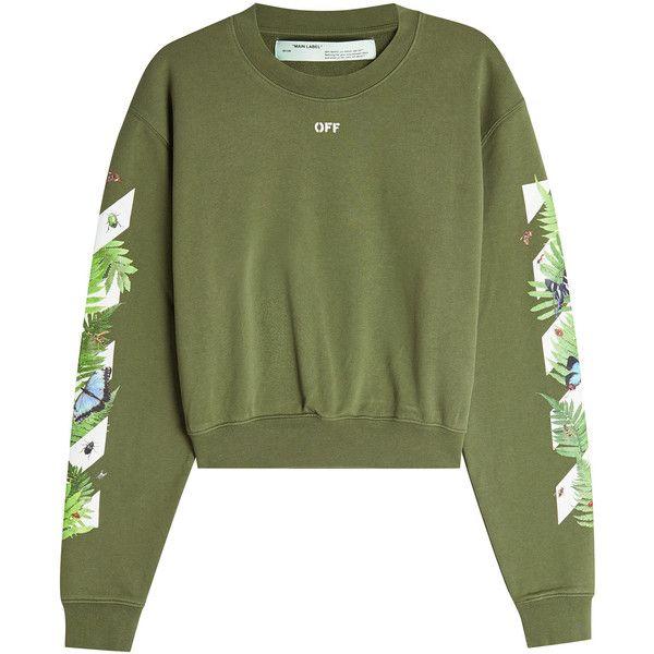 Off-White Fern Printed Hoody featuring polyvore, women's fashion, clothing, tops, hoodies, green, reversible hoodie, patterned hoody, sleeve top, off white hoodie and logo hoodie