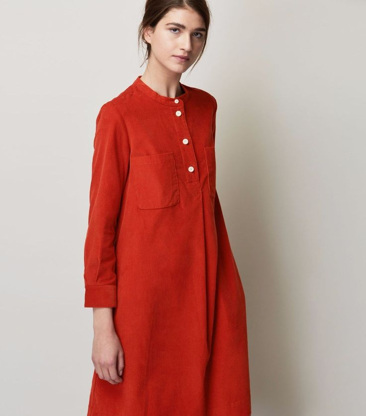 Womens Slate Green Cotton Needlecord Shirt Dress   TOAST