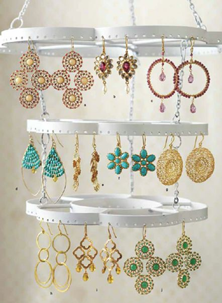 diy jewelry holder. like the jewelry on the rack. inspo maybe rings from tin cans?