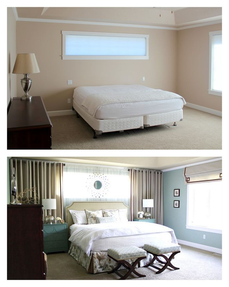 Master Bedroom ~ Reveal! Curtains around bed, mirrors above long dresser, wall colors