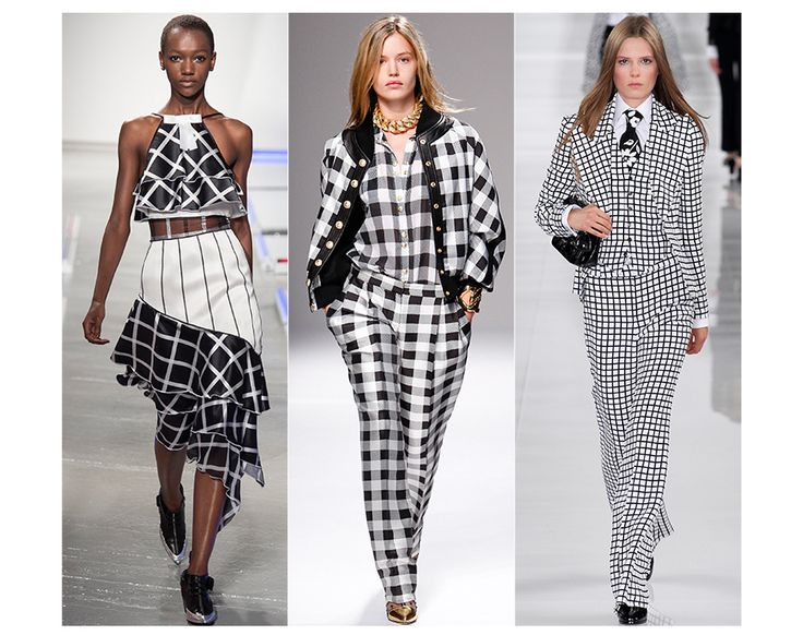 Chessboard checks---  It was a unanimous thumbs-up for black and white checks at Rodarte,Balmainand Ralph Lauren. Chic and classic, this ladylike choice brings a play of contrasts to day-to-night dressing, in one minimalist stroke.  ///Rodarte, Balmain, Ralph Lauren