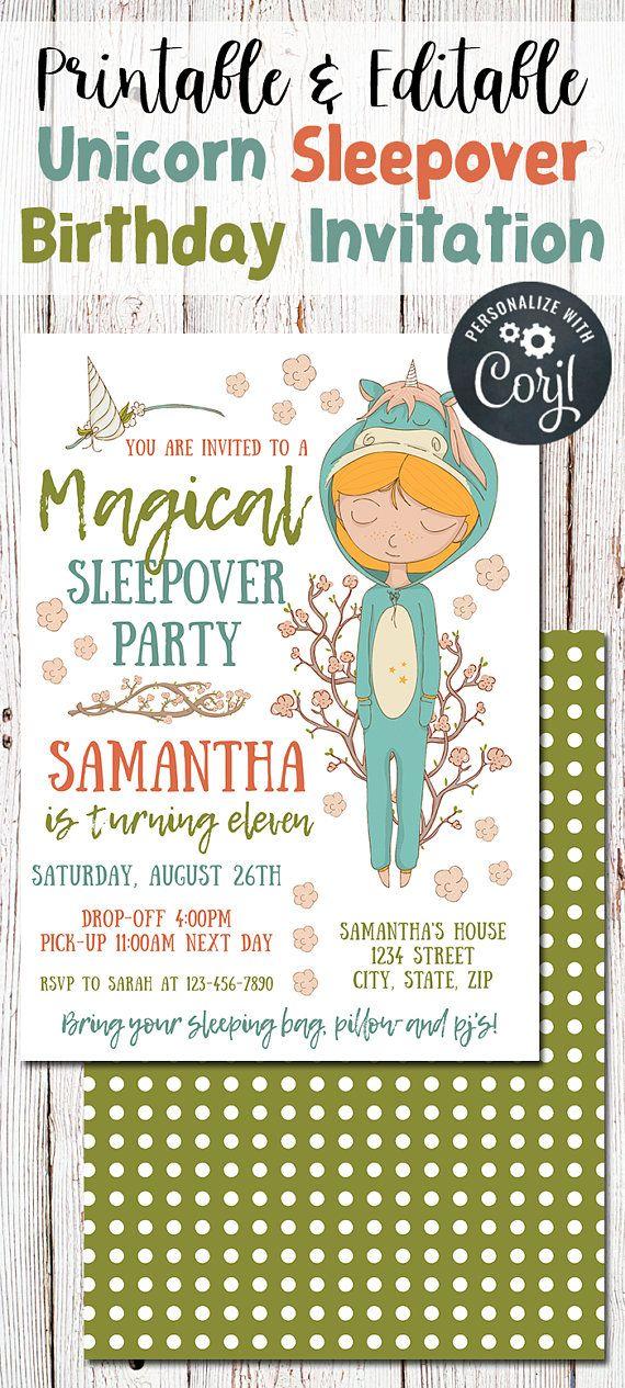 Unicorn Sleepover Invitation Birthday Sleepover Party Unicorn
