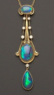 """Art Nouveau Black Opal and Diamond Pendant, The Brassler Company, Newark, New Jersey, set with three opal cabochons among scroll and knife-edge motifs, seven old European-cut diamond meleé highlights, completed by delicate fancy link chain, 14kt gold mount, lg. 2 3/4, 16 in., maker's mark """"14B."""" #ArtNouveau #pendant"""