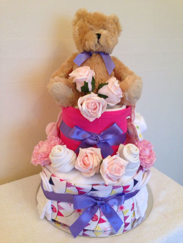 Colourful baby girl nappy cake