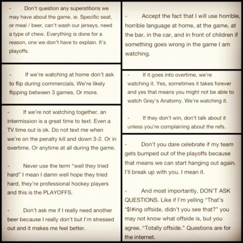 hockey the rules for dating
