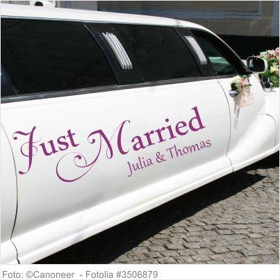 Autoaufkleber Hochzeit - Just Married mit Namen