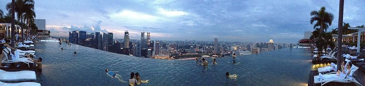 The Infinity edge swimming pool in the Skypark at Marina Bay Sands Hotel located in Singapore.  Wikipedia, the free encyclopedia.