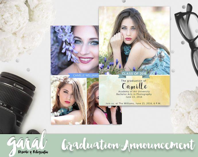 Senior Announcement Template, Senior Graduation Invitation Template, Graduation Announcement Card, Photoshop Template by GaralPhotography, $8.00 USD