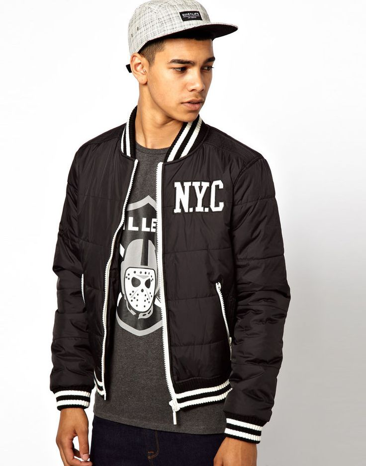 Two Angle @ ASOS Men s Lightweight Bomber Jacket in Black Size L Chest 40-42in