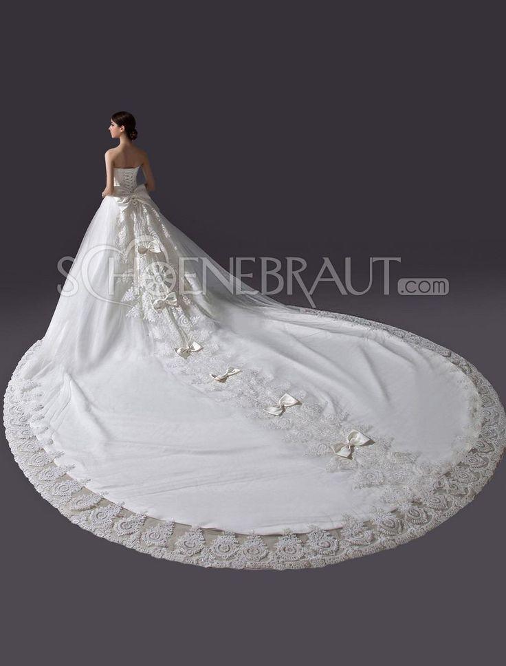A-Linie Applikation Satin Hochzeitskleider mit lange Kathedrale-Schleppe [#UD8527] - schoenebraut.com