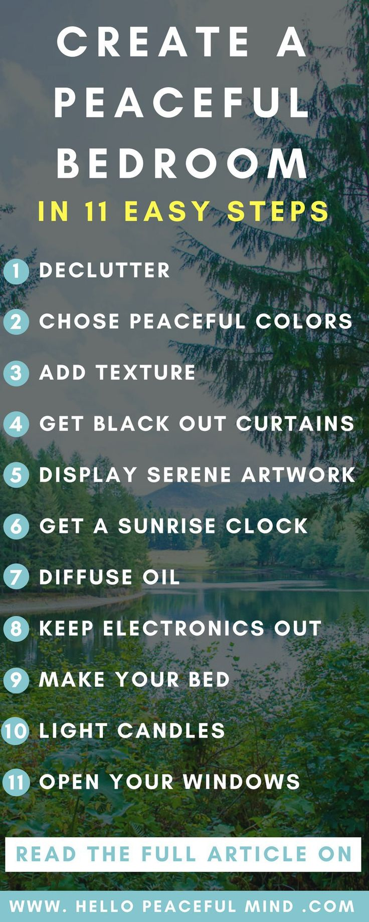 Create a calm bedroom to easily sleep and relax with this ultimate guide. Decorate your bedroom, remove distractions and more! Read the full article on www.HelloPeacefulMind.com
