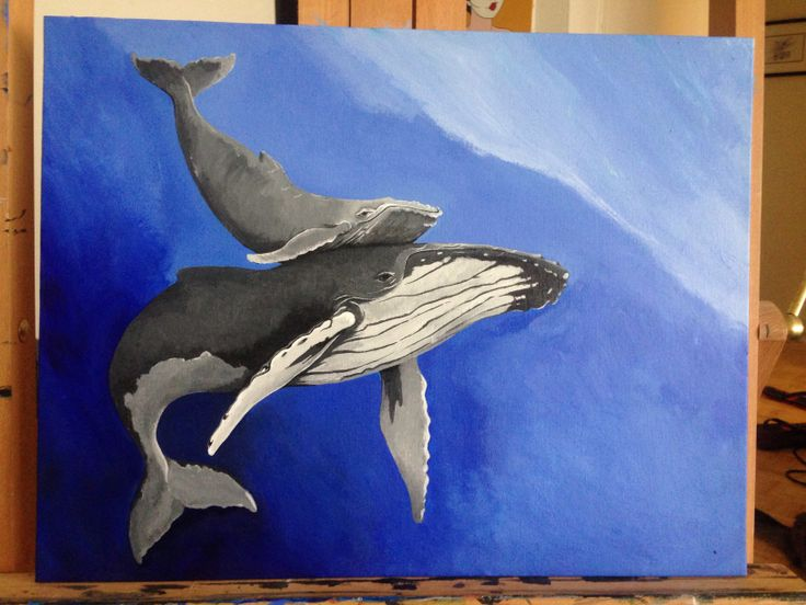 WIP humpback whale painting. Reworking the background at this time.