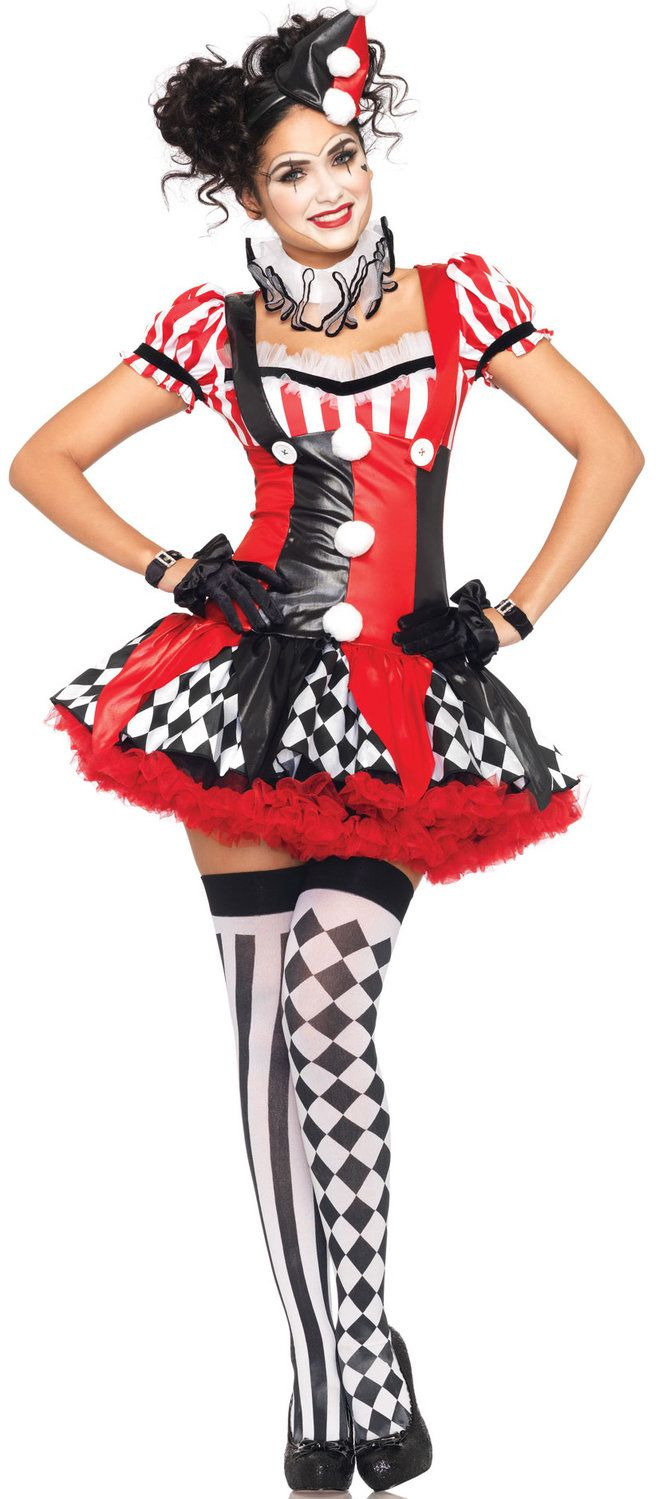 Sweet and Funny clown!! Even if she in the clown theme she not evil, this is just cute! Harlequin Clown Costume