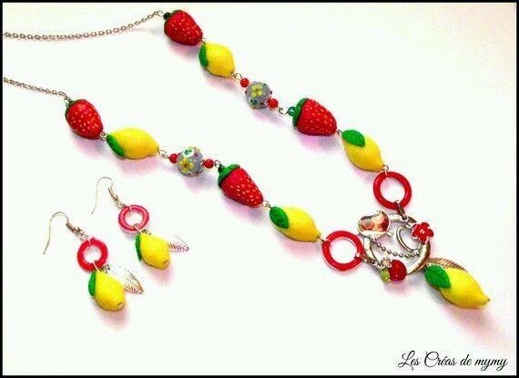 Parure créateur modéle Unique Collier et boucles d oreille Fruits  citron.fraise | eBay