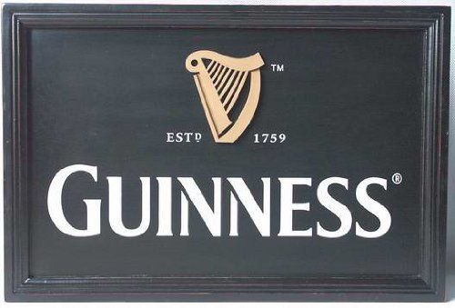 "Guinness Harp Logo wall art  Price : $49.95 This vintage style authentic Guinness wall art is reminiscent of the art decorating the walls of pubs across Ireland.  Measuring 14"" x 20"".  Perfect for Father's Day for the mancave!  Ships anywhere! http://www.biddymurphy.com/Guinness-Harp-Logo-wall-art/dp/B004DJDJD4"