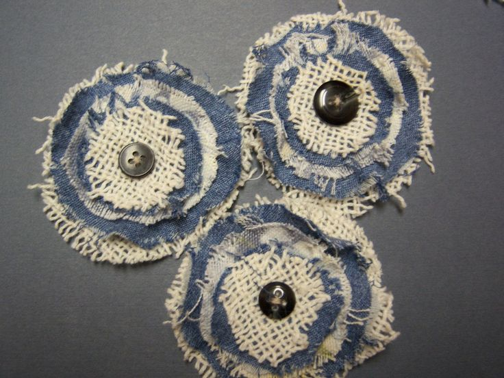 Denim n Lace Shabby Chic handmade flowers - vintage blue denim and ivory lace w/ vintage buttons for scrapbooks, brooches, etc. crazyadsteam. $3.00, via Etsy.