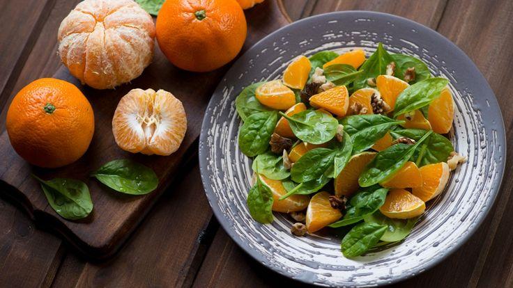 Salade d'épinard et de mandarines