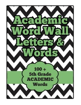 5th Grade Reading Academic Word Wall Set - White & Black Chevron with Green Accents - Reading, Language Arts, & Writing