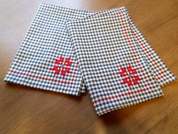 NEW Hand Embroidered Gingham Napkins, Traditional Cross Stitch Placemats, Scandinavian Design, Swedish Folk StyleTablecloth , Made in Maine