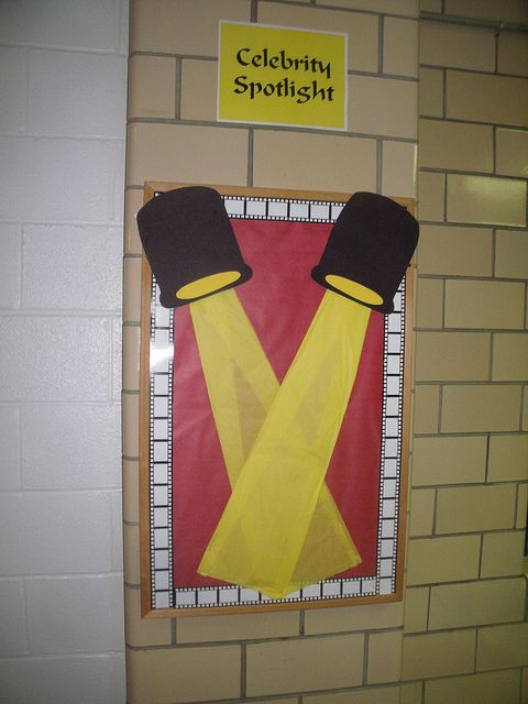 "Cool Bulletin Board idea to ""spotlight"" a student or famous person."