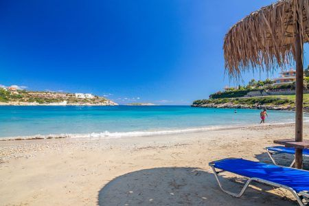 The sandy beach of Loutraki Beach Crete