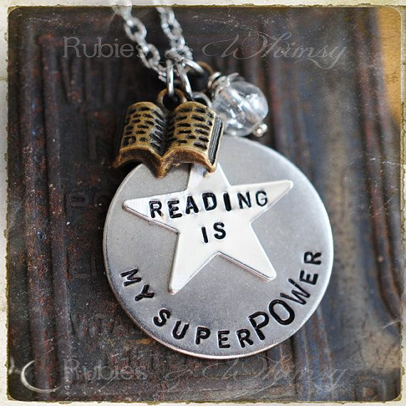 Reading is my SuperPOWer Necklace Gift for Book Lover by rubiesandwhimsy