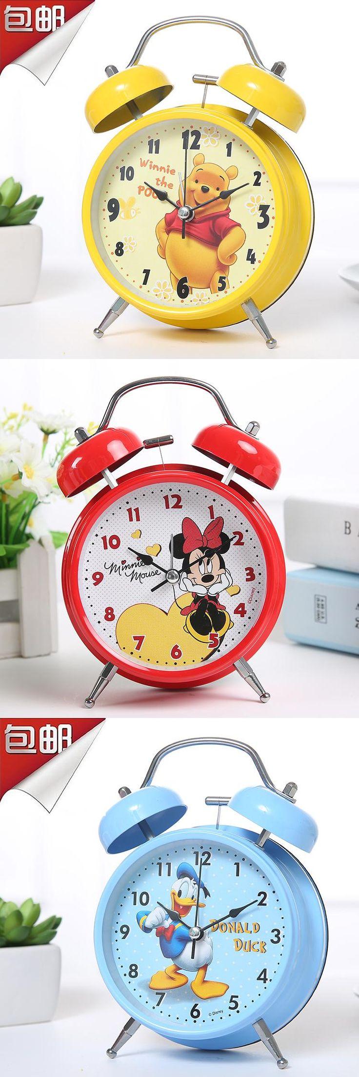 Binaural Metal Students Mute Alarm Clock Bedside Cupboard Large Ringtones Clock With Night Light Creativity Table Clock Bell