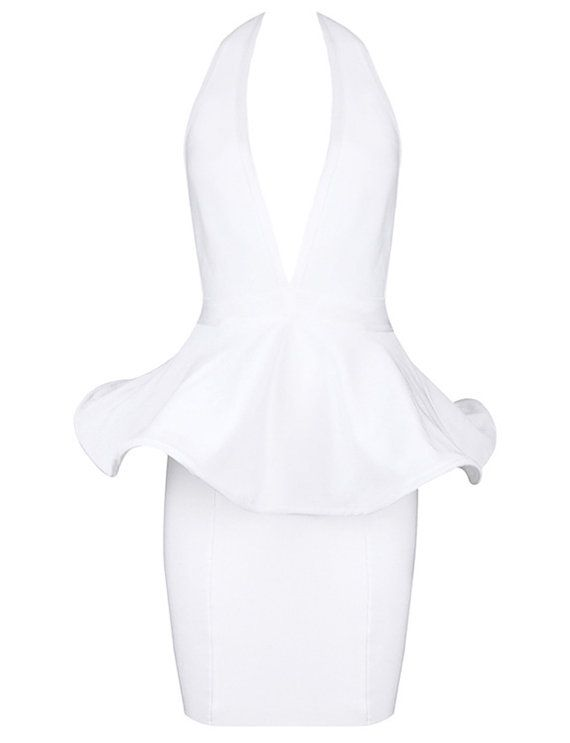 White Dress Plunge Neck Peplum Dress Open back by 12AMPARTY