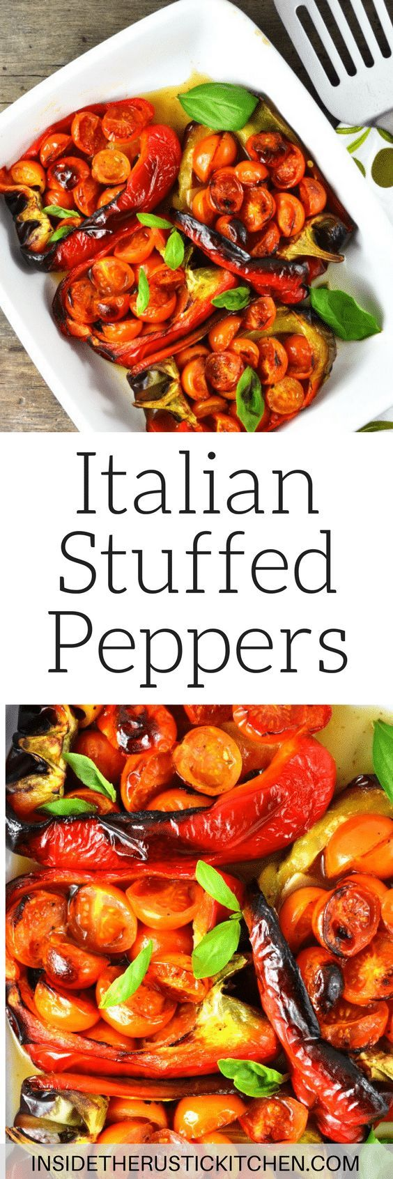 These delicious Italian stuffed peppers are stuffed with anchovies, garlic, basil and cherry tomatoes. A super easy and speedy lunch or dinner that you'll love!www.insidetherustickitchen.com