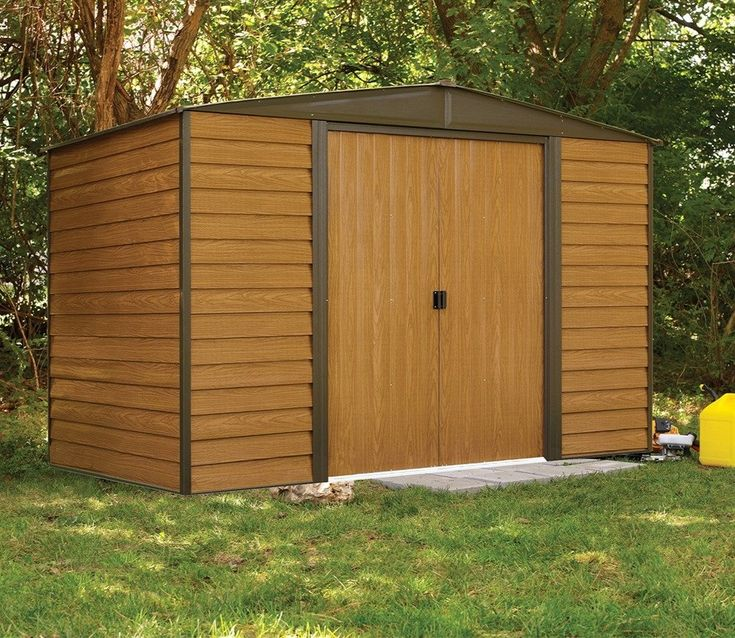 rowlinson woodvale metal apex wood effect shed 6ft x 10ft wide