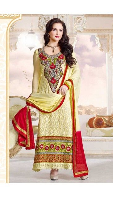 Yellow Georgette Churidar Suit - DM12505