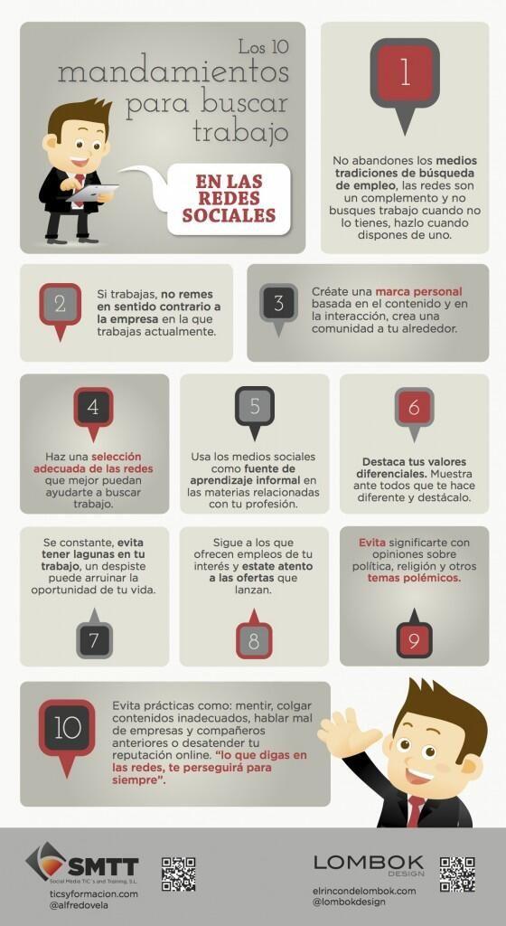 10 consejos para buscar #empleo a través de redes sociales vía @lombokdesign @alfredovela