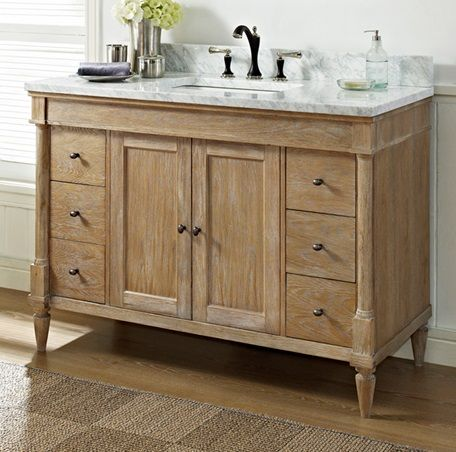 Designed to flaunt the beauty of its wood, Rustic Chic invites you to bring a touch of texture to your bath. The earth-bound, organic look derives its appeal from clean lines and tactile Weathered Oak veneers, accented with subtle brass finished knobs. A variety of cabinet sizes and configurations allows you to customize your space… …